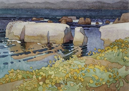 """Golden Cliffs Of Point Buchon by Carolyn Lord Watercolor ~ 11"""" x 15"""""""