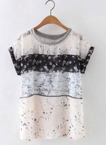 Cute Round Neck Short Sleeves Floral Print Women's Blouse