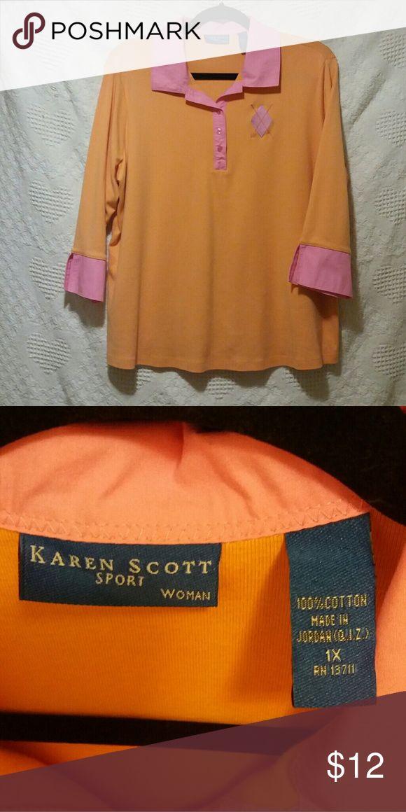 Karen Scott Sport Woman shirt NWOT.  3/4 sleeves.  Bright colors!  100% Cotton.  1X Karen Scott Sport Woman Tops Tees - Long Sleeve