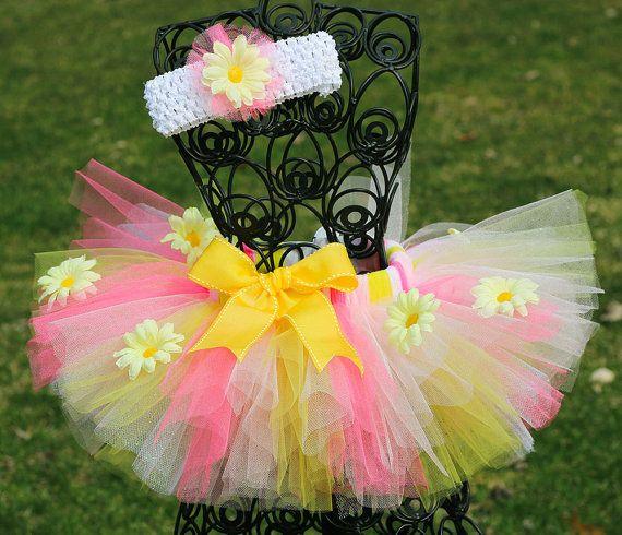 Spring Tutu, Flower Tutu, Easter Tutu, Girls Tutu Skirt, Toddler Tutu, Pink and Yellow Tutu. $22.99, via Etsy.