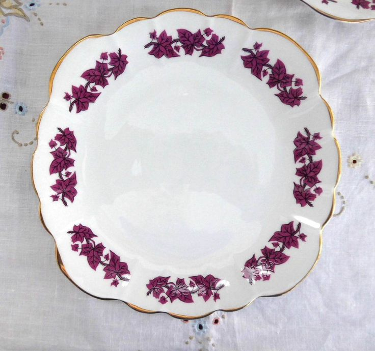25% OFF Today! Cake Serving Plate Purple Leaves Clare England 1950s Sandwich Bone China