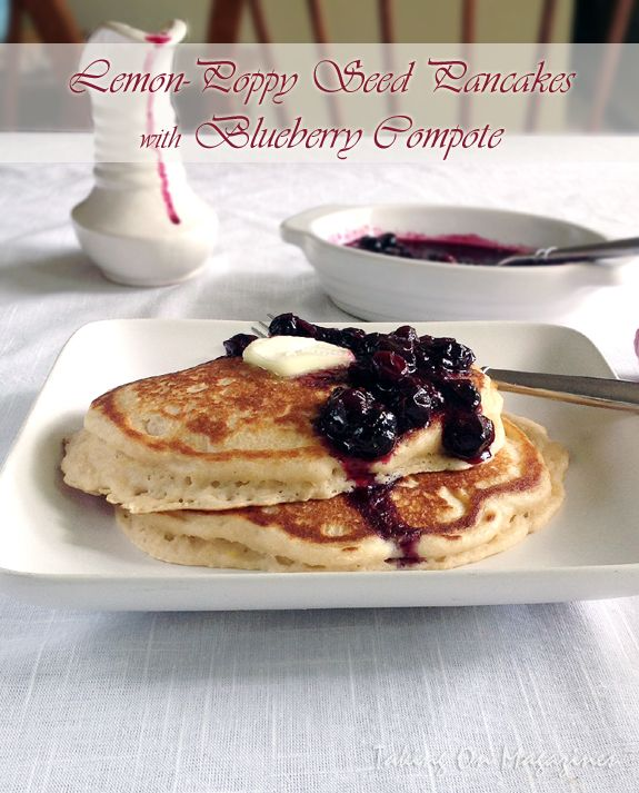 Lemon-Poppy Seed Pancakes with Blueberry Compote | Taking On Magazines | www.takingonmagazines.com | Light, fluffy and laced with hints of lemon, the only thing that can make these pancakes better is the deliciously sweet/tart blueberry compote that tops it.