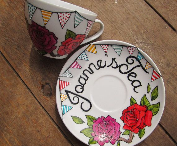 Hand painted bunting custom tea cup and saucer (birthday or wedding gift) High tea, roses, tea and cake, gift
