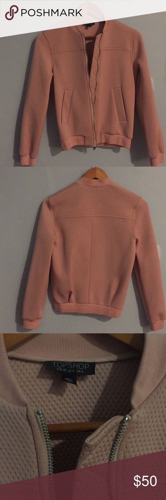 Light Pink Bomber Jacket A nude/pink bomber jacket with dimples and pockets. Topshop. Like new. Topshop Jackets & Coats Utility Jackets