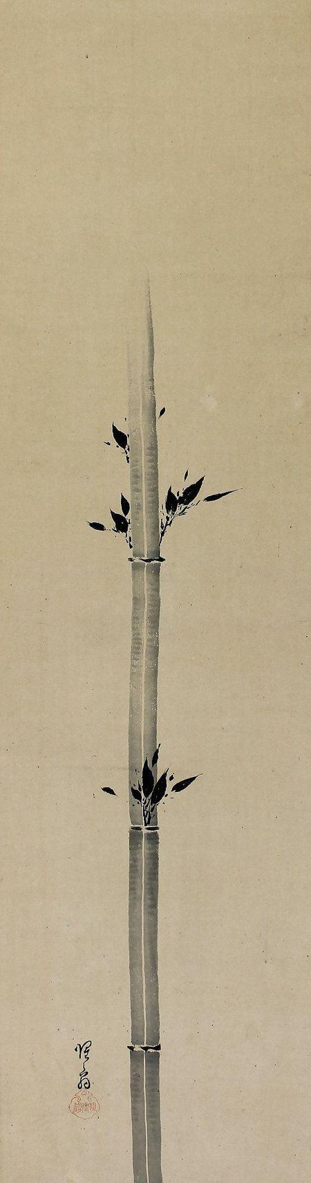 Inkwash Bamboo Zen Art. Shokado Shojo(1584-1639) Hanging Scroll Painting Kakejiku
