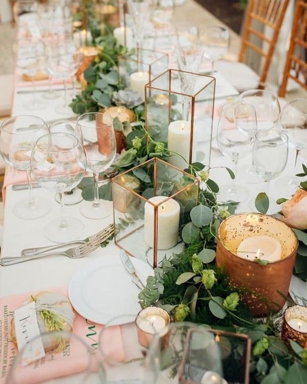industrial wedding centerpiece ideas with copper g…