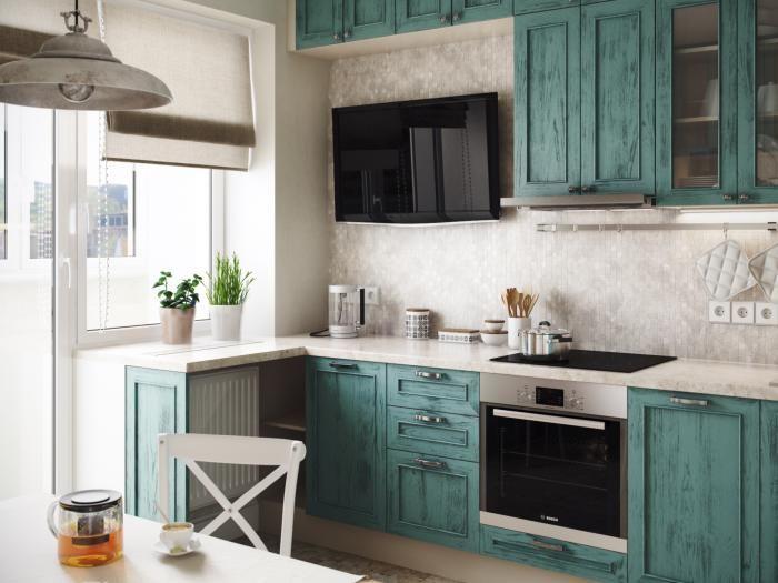 Бирюзовая мебель для кухни Никита Зуб
