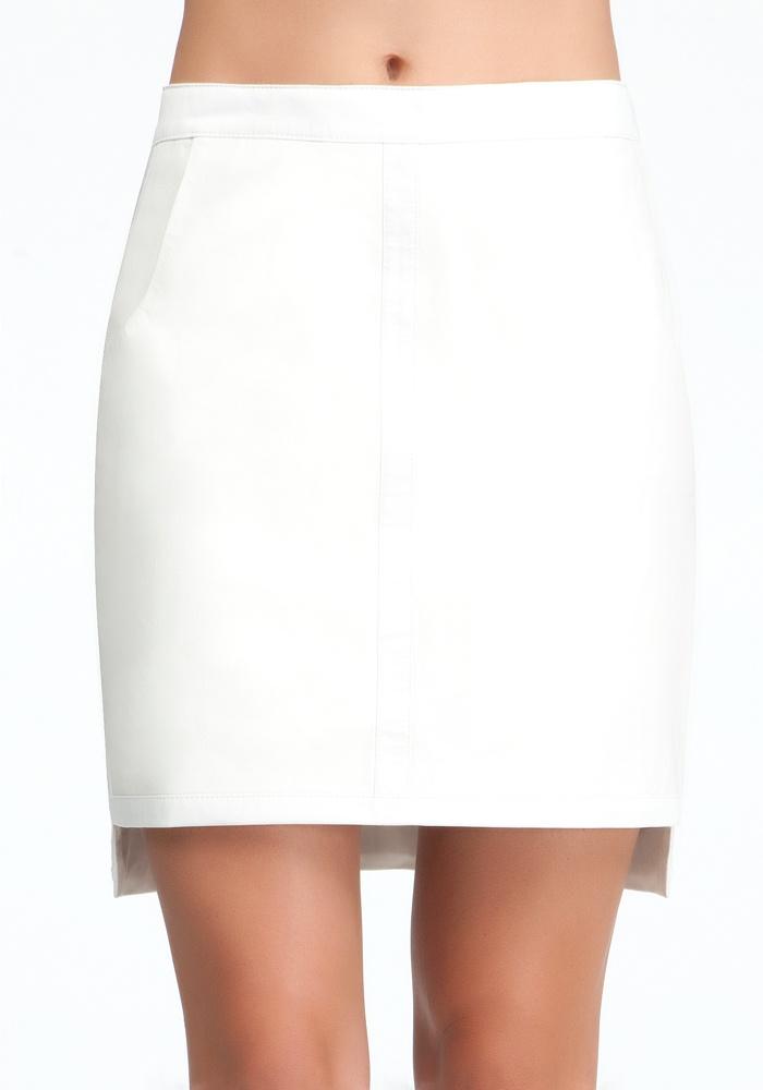 Framed Leather Skirt - White - 6