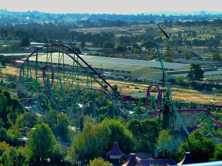 The Anaconda rollercoaster at Gold Reef City theme park near Johannesburg, South Africa.