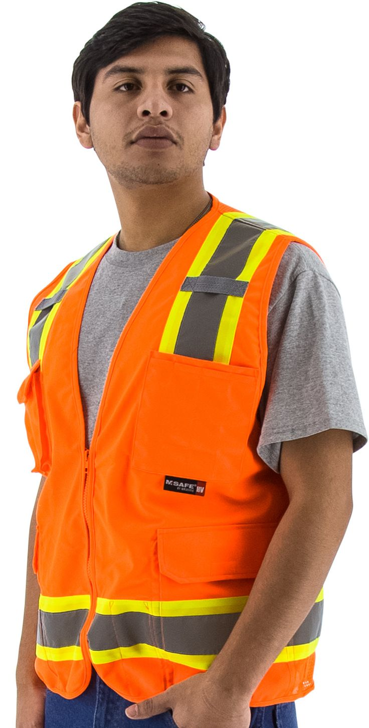 Majestic 75-3224 Hi Vis Orange Surveyor's Safety Vest ANSI Class 2 Mesh Back