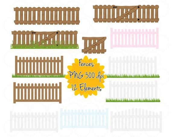 Fence Clipart Gate Clip Art Picket Fence Graphic Png Farm Gate Printable Instant Download Digital Art Pink Blue White Wooden Grass In 2021 Farm Gate Clip Art Small Business Logo