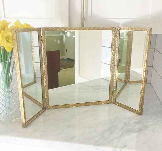 Vintage Tri Fold Mirror Triple Vanity Mirror Tri-Fold
