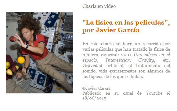 """Charla en video. """"La física en las películas"""", por Javier García"""