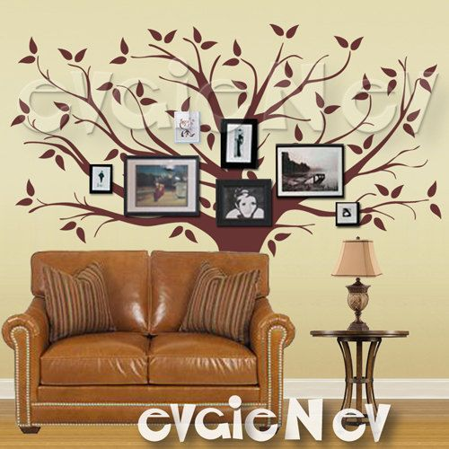 Family Tree Wall Decal  Picture Frame Background Wall Decals   Large Tree  Wall Sticker   TRFMLY010