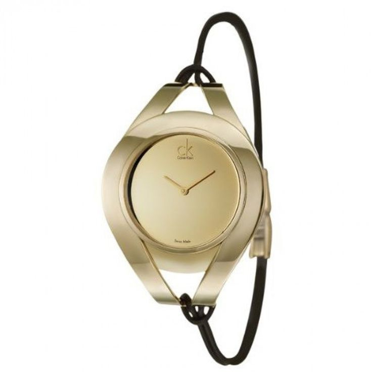 Calvin Klein Women's Sophisticated Stainless steel case, Stretchable band bracelet, Gold tone dial, Quartz movement, Scratch resistant Mineral, Water resistant up to 3 ATM - 30 meters - 99 feet. Available through our Brand Name Watches auction.
