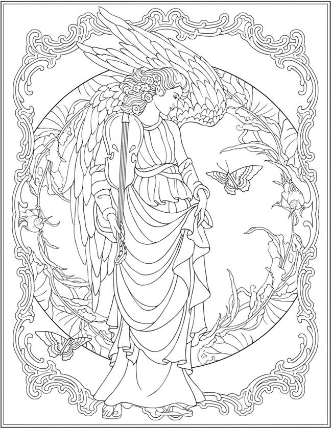 creative haven elegant angels coloring book by marty noble dover publications - Coloring Book Angels