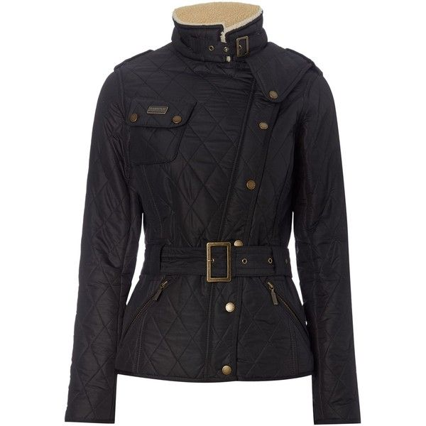 Barbour Matlock Quilted Biker Jacket (365 CAD) ❤ liked on Polyvore featuring outerwear, jackets, black, women, black quilted jacket, black jacket, asymmetrical zipper jacket, motorcycle jacket and black motorcycle jacket