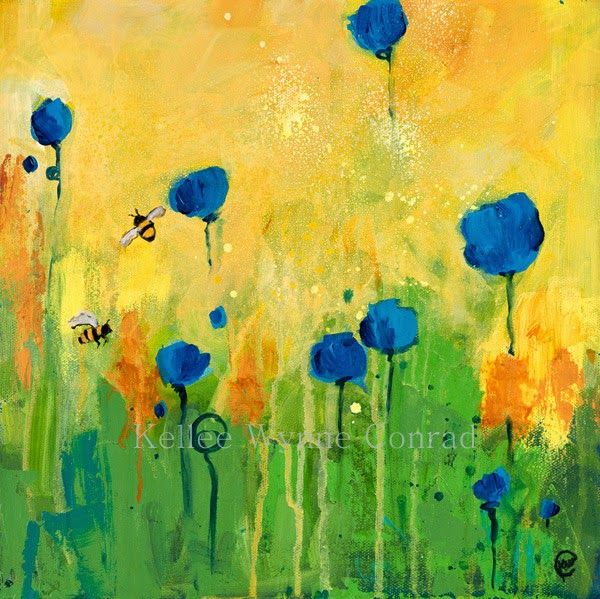 "Kellee Wynne Conrad Fine Art: New Series: Botanical Abstracts, ""Out of Time"" 12x12 acrylic...Busy Bees Series"