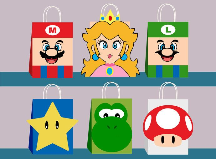 Loot Treat Bags Birthday Party Favor Supplies ~16 Super Mario Brothers Favor