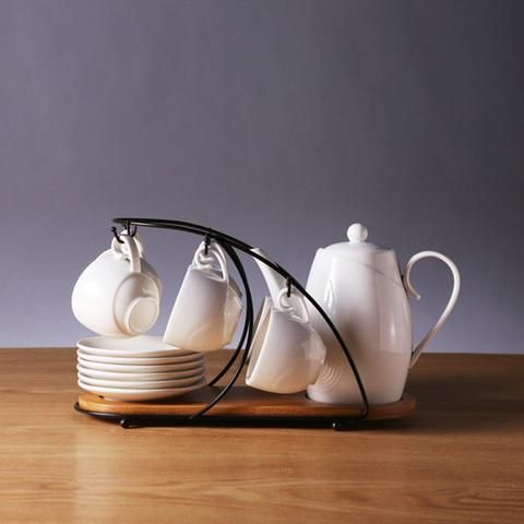 Contemporary Tea Set with Display Rack