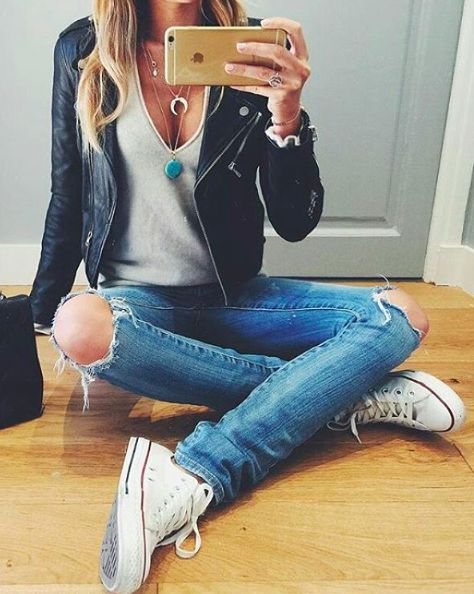 Biker jacket, ripped jeans, and white converse