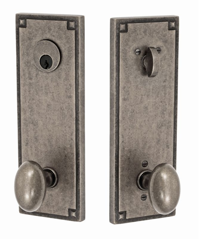 Miseno E-AY-24 Ellisse Solid Brass Single Cylinder Keyed Entry Door Knob Set wit Antique Pewter Knobset Keyed Entry Single Cylinder