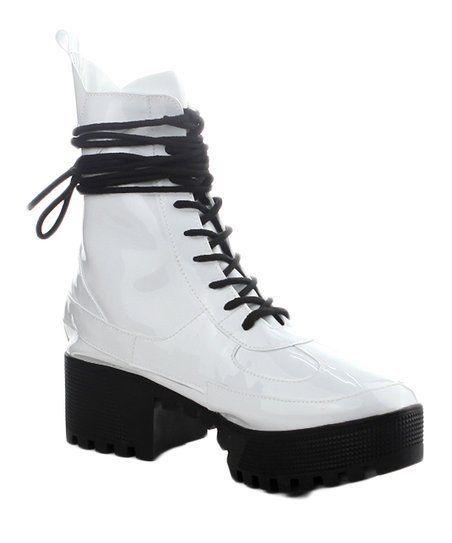 46ef0cea260 Cape Robbin DASHING White Lug Sole Lace Up Chunky Heel Platform ...