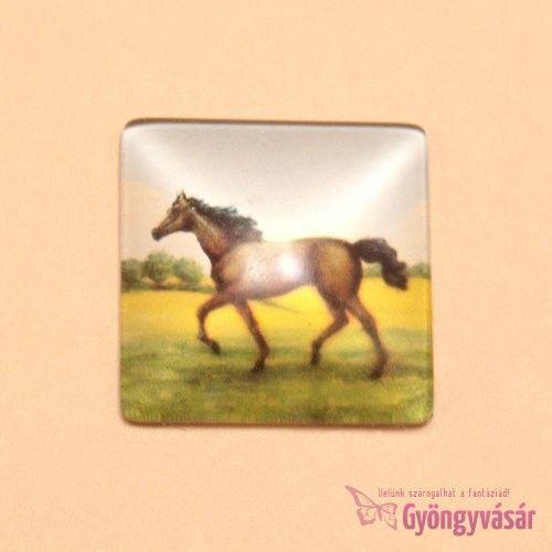 Barna ló mintás, négyzet alakú, 25 mm-es üveglencse • Gyöngyvásár.hu