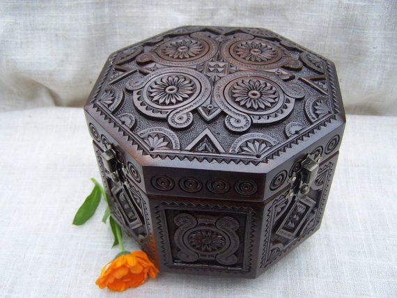 Jewelry box Wooden box Ring box Carved wood box Wooden boxes Cigar box Wood boxes Jewelry holder Wedding gift box Ring holder Carving B11 on Etsy, $65.00