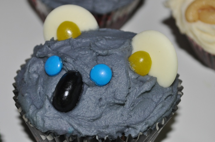 Koala cupcake. Australian Animal theme birthday party.