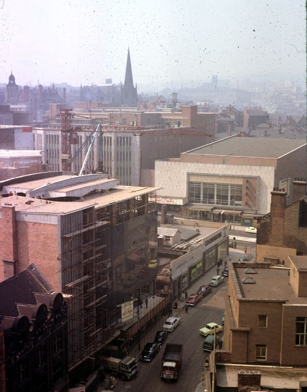 Elevated View from the Court House (formerly the Town Hall) of Castle Street and Angel Street showing Angel Street B and C Co-op (Castle house No. 1) and ABC Cinema