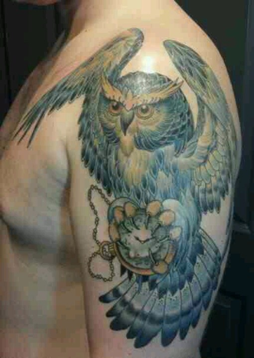 Owl tattoo  half sleeve  animal  clock  pocket watchInk Art  Tattoo    Owl Half Sleeve Tattoos