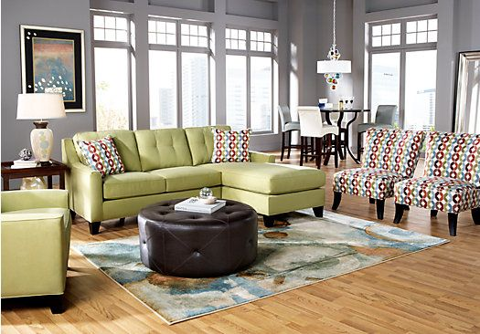 Green blueshop for a cindy crawford home madison place wasabi 3 pc sectional living room at for Rooms to go cindy crawford living room