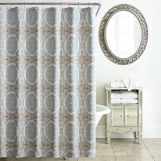 Waterford Jonet Shower Curtain In Cream Aqua Shower Curtain