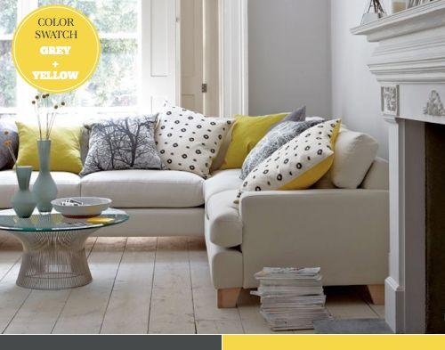 Grey + yellow: Living Rooms, Idea, Leather Sofas, Modular Sofas, Sofas Beds, House, Corner Sofas, Sofacom, Sofas Com