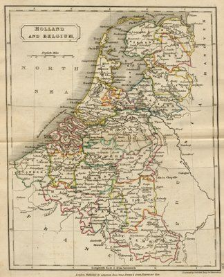 Antique Map of Holland and Belgium, circa 1840