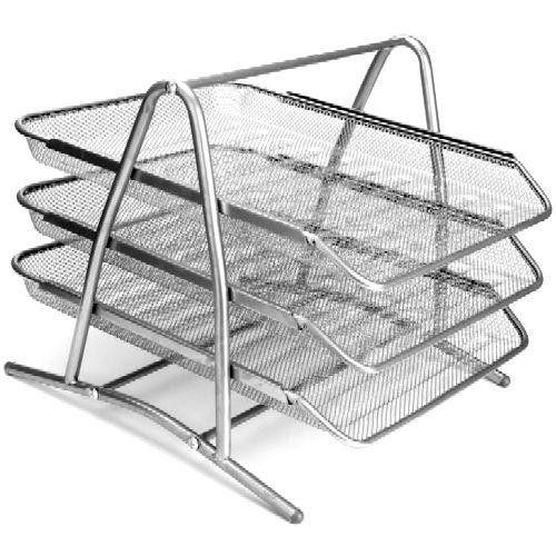 Asztali irattartó tálca fémhálós három emeletes - Ezüstszürke - Fémhálós irodaszerek kategóriában - 3,490