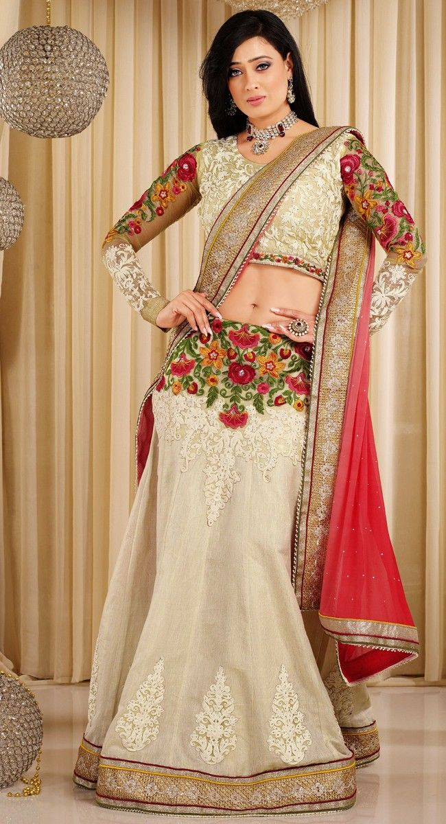 Beige color Party Wear #Lehnga #Choli-Cotton Lehenga Choli