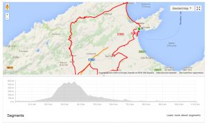 Hieronder het race course van de Ironman Mallorca 70.3 2014. Aantal hoogtemeters: 907