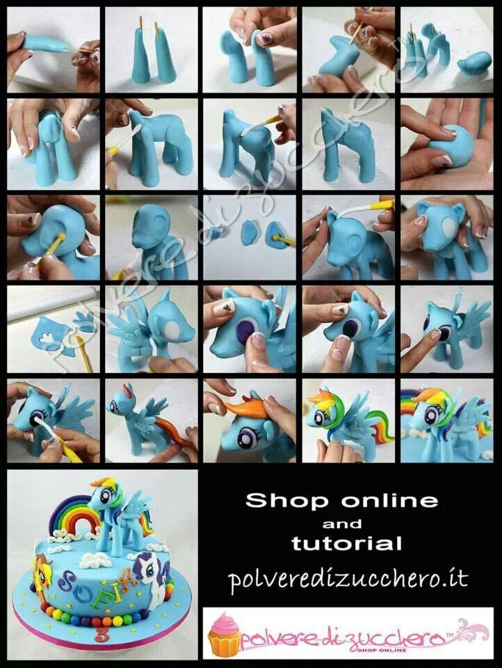fondant rainbow dash My little pony tutorial.                                                                                                                                                     Plus