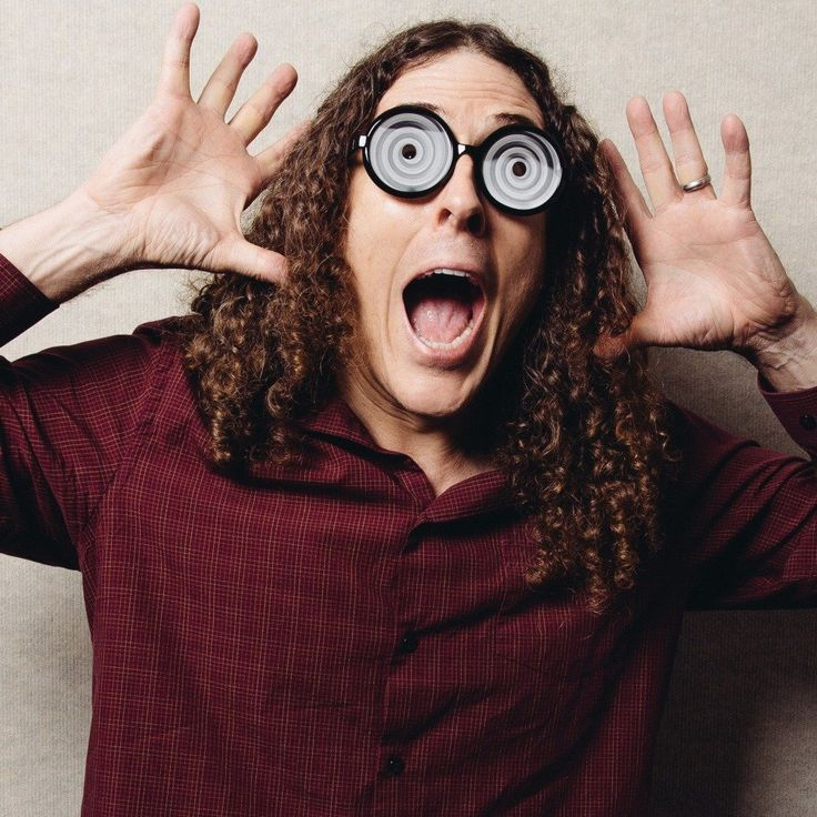 """Born Alfred Yankovic, """"Weird Al"""" (from his student radio days) made the jump from architecture school to musical act via the radio show of Dr. Demento and a lot of good luck. He's still going, a dozen albums and three Grammys later."""