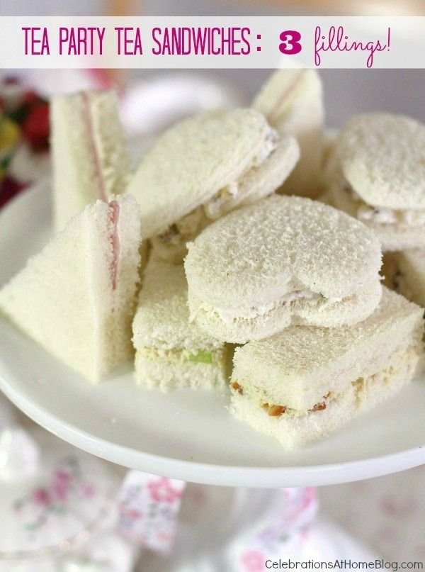 "tea party tea sandwiches cut out into shapes! Could make an Alice in wonderland theme and stamp in ""Eat Me"" on these!"