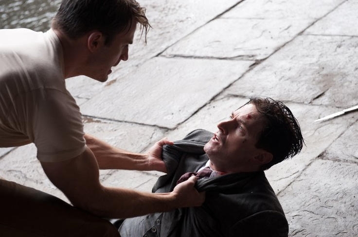 Still of Richard Armitage and Chris Evans in Captain America: The First Avenger