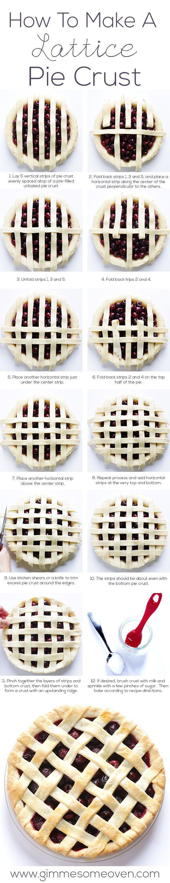 How To Make A Lattice Pie Crust. This looks so much easier than the way I do it. Can't wait to try.: