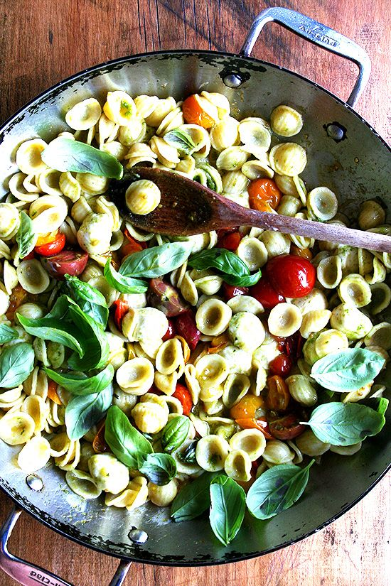 Orecchiette with Cherry Tomatoes, Mozzarella & Basil Pesto