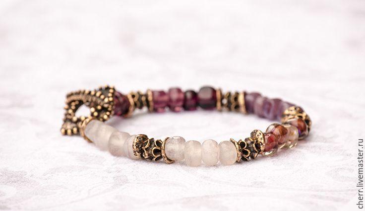 Купить Осенний модерн - браслет лэмпворк - сиреневый, лиловый, фиолетовый, белый, цвет слоновой кости