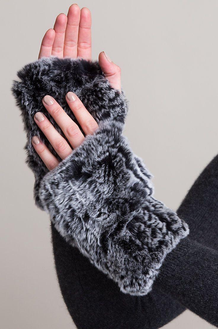 3c9e5a0fa9d2c Stretch Knitted Rex Rabbit Fur Fingerless Gloves
