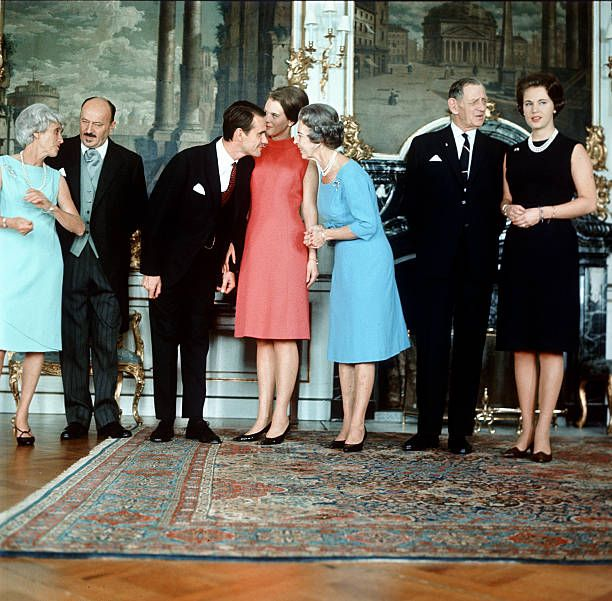 Engagement of Princess Margrethe of Denmark and French Count Henri de Laborde de Monpezat at Fredensborg Palace on October 5, 1966 seen here with his parents Count Andre de Laborde de Monpezat and Countess Renee and her parents King Frederik IX of Denmark and Queen Ingrid and her sister Princess Benedikte