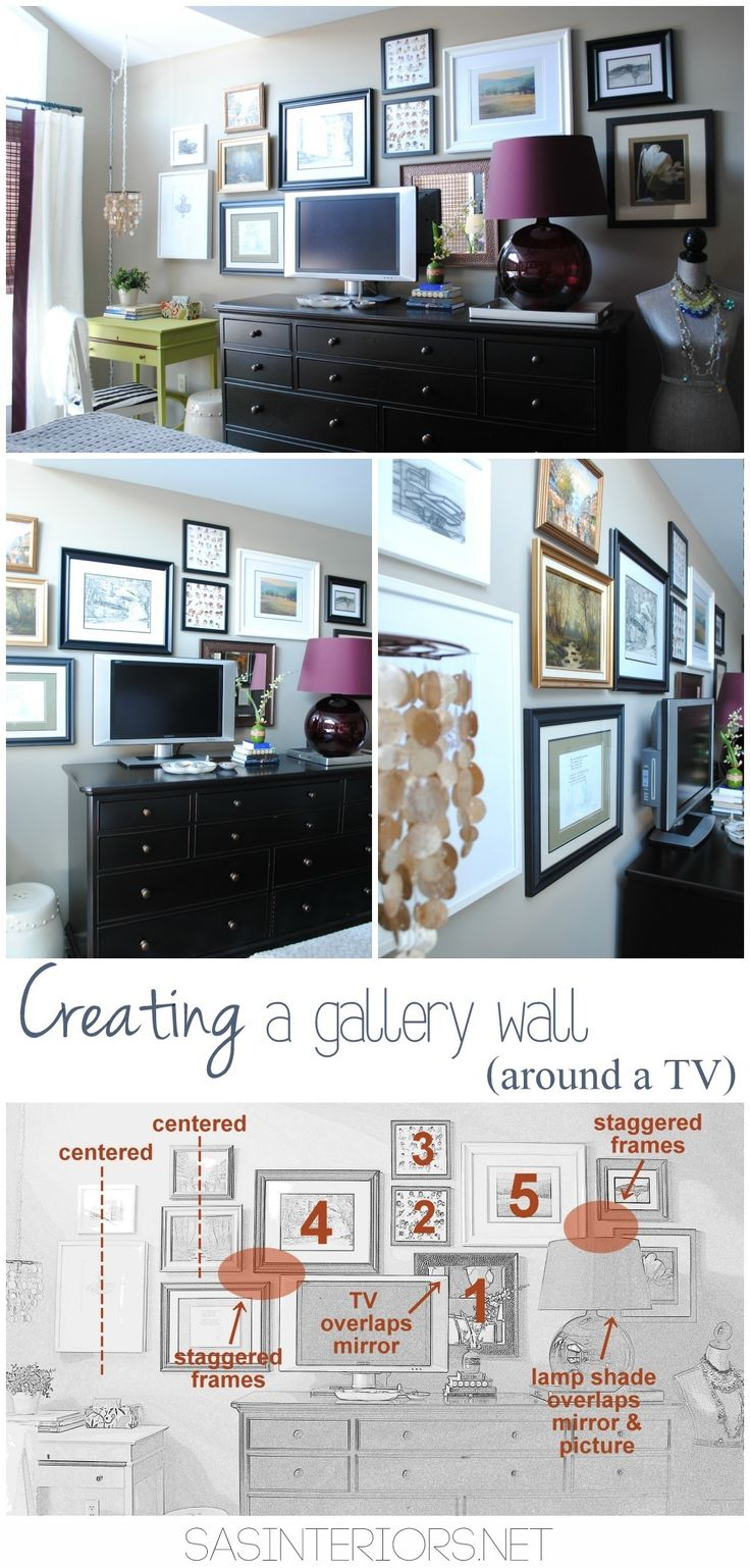 Creating a gallery wall behind a TV + tips on how to implement your own gallery wall. So many ideas & inspiration on this blog!