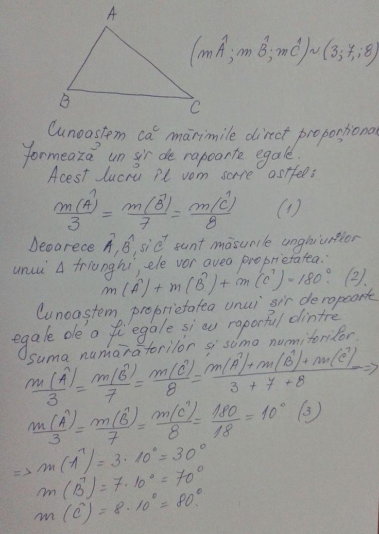 Matematică - rezolvări detaliate: Mărimile proporţionale si triunghiul
